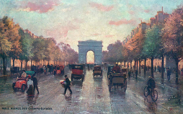 Wall Art - Drawing -  Avenue Des Champs Elysees Looking by Mary Evans Picture Library