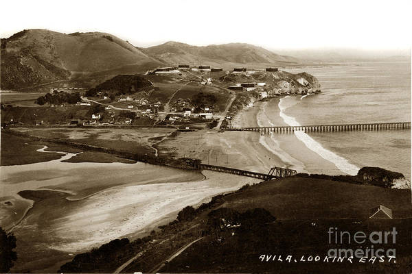 Photograph -  Avila Beach Looking East San Luis Bay California Circa 1920 by California Views Archives Mr Pat Hathaway Archives