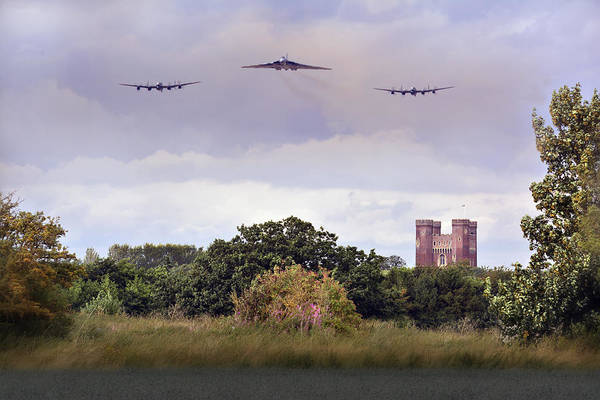 Avro Vulcan Wall Art - Photograph -  Avro Trio Over Tattershall Castle by Jason Green
