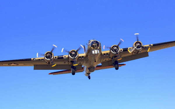 Photograph -  B17 Flying Fortress On Approach At Livermore Klvk by John King