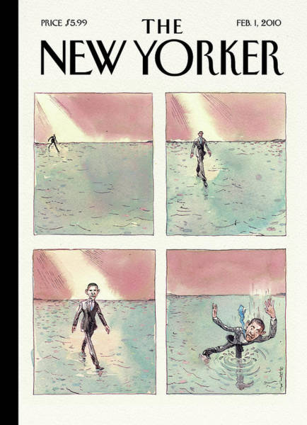 Water Painting - Obama Walking On Water by Barry Blitt