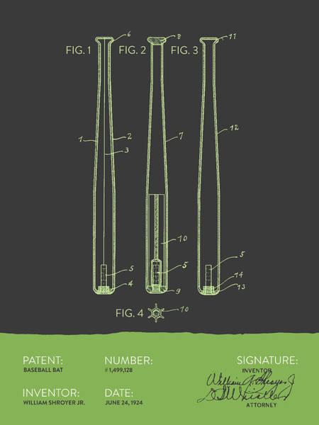 Baseball Bat Patent Wall Art - Digital Art -  Baseball Bat Patent From 1924 - Gray Green by Aged Pixel