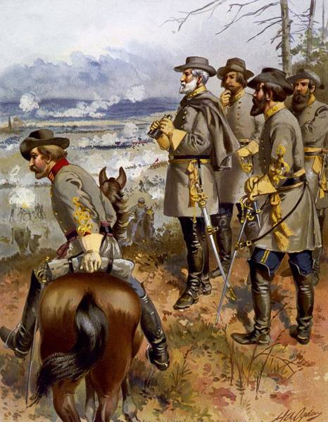Confederate Generals Painting -  Battle Of Fredericksburg by American School