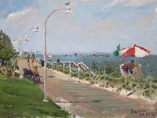 Border Wall Art - Painting -  Beach Border Walk In Norfolk Va by Ylli Haruni