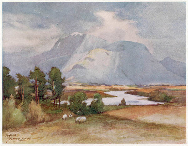 Grey Skies Drawing -  Ben Nevis, With A Cloudy Grey Sky by Mary Evans Picture Library