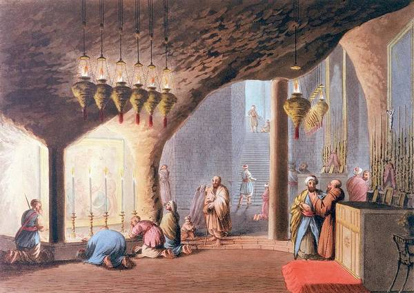 Bethlehem Drawing -  Bethlehem  Grotto Of The Nativity by Mary Evans Picture Library