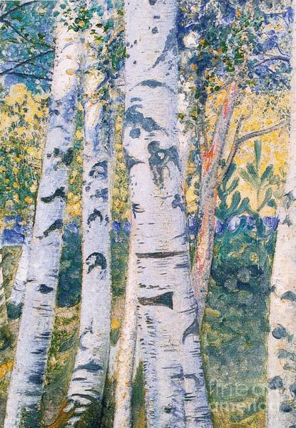 Silver Painting -  Birch Trees by Carl Larsson