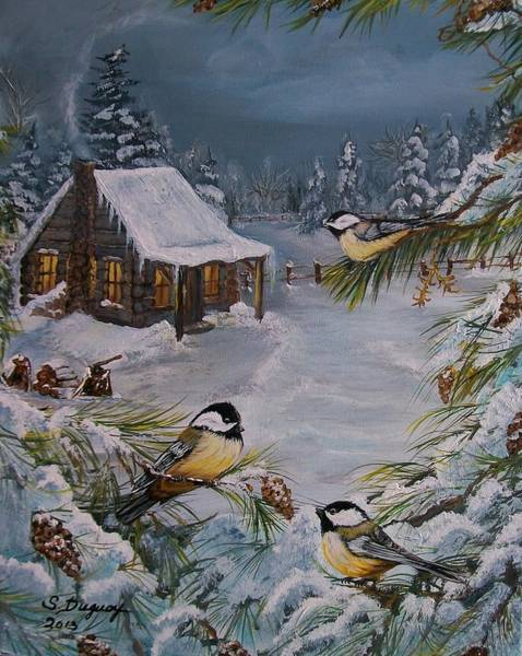 Wing Back Wall Art - Painting -  Black Capped   Chickadee's  by Sharon Duguay