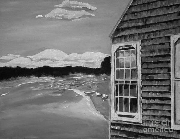 Painting -  Boathouse - On The Maine Seashore - Black And White by Jan Dappen