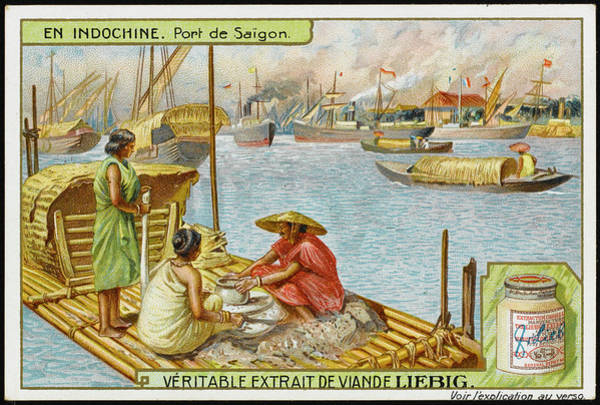 Vietnam Drawing -  Boats And Shipping In The  Harbour by Mary Evans Picture Library