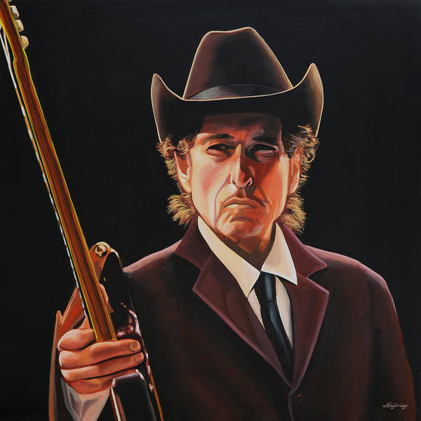 Trains Painting -  Bob Dylan 2 by Paul Meijering