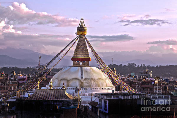 Photograph -  Boudhanath Stupa Kathmandu by Raimond Klavins