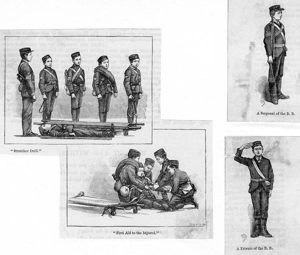 Brigade Drawing -  Boys In The Boys' Brigade  Practising by Mary Evans Picture Library