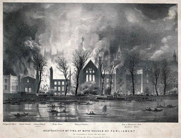 Wall Art - Drawing -  Burning Of The Houses Of  Parliament by Mary Evans Picture Library