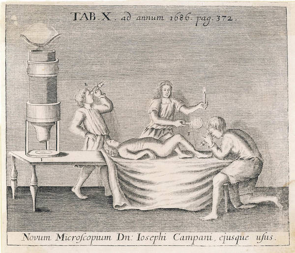 Wall Art - Drawing -  Campani's Microscope         Date 1686 by Mary Evans Picture Library