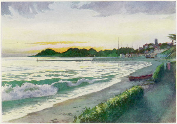 Twilight Drawing -  Cannes  View Of The Sea At Twilight by Mary Evans Picture Library