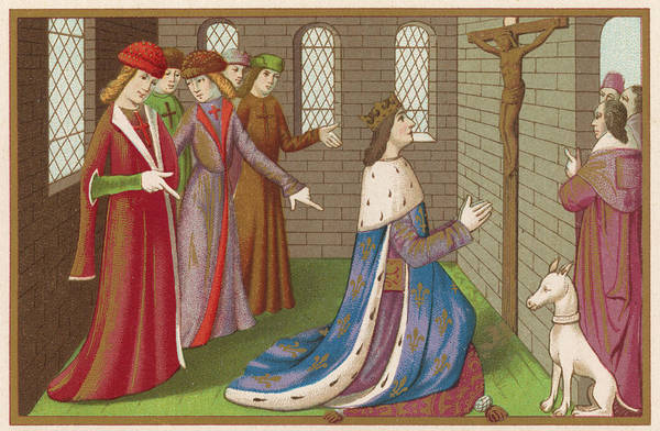 Wall Art - Drawing -  Charles Vii Is Mocked By The  English by Mary Evans Picture Library
