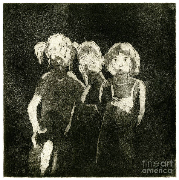 Painting -  Children In The Shade - Kids - Boys - Girls - Darkness - Etching - Fine Art Print - Stock Image by Urft Valley Art