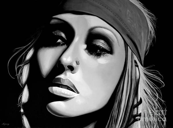 Reflections Mixed Media -  Christina Aguilera by Meijering Manupix