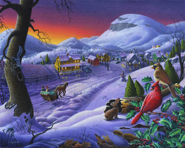 Snow Scene Painting -  Christmas Sleigh Ride Winter Landscape Oil Painting - Cardinals Country Farm - Small Town Folk Art by Walt Curlee