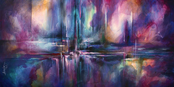 Wall Art - Painting - ' City On Moonlight ' by Michael Lang