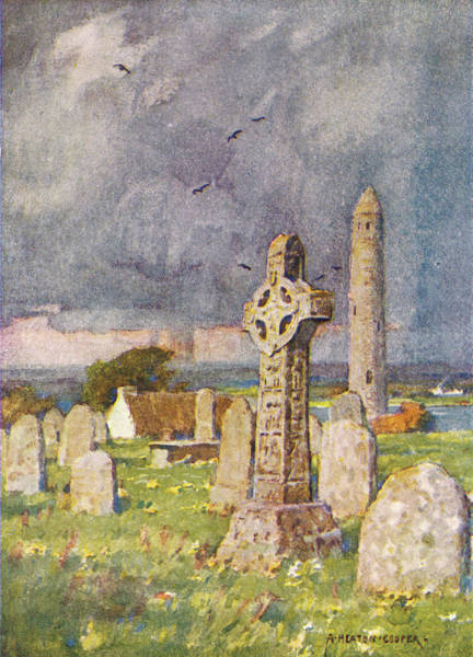 Gravestone Drawing -  Clonmacnoise,  County Roscommon by Mary Evans Picture Library