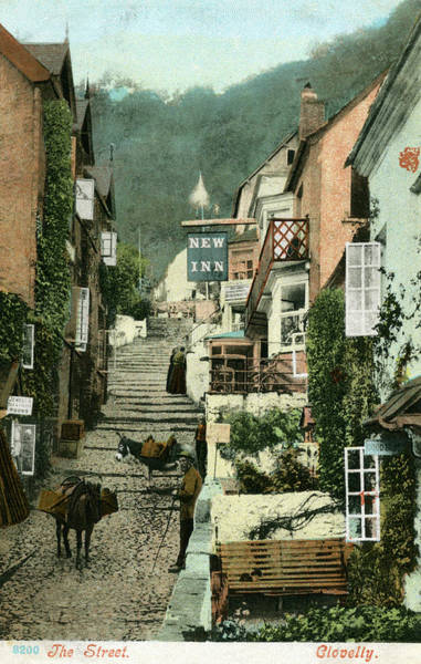 Wall Art - Photograph -  Clovelly, North Devon  The Main Street by Mary Evans Picture Library