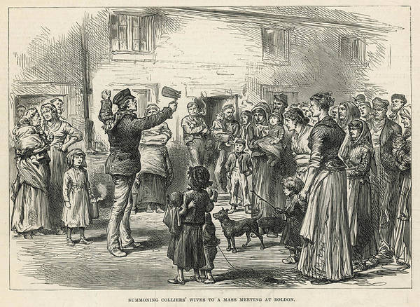 Unity Drawing -  Colliers Wives Are Summoned To  A Mass by  Illustrated London News Ltd/Mar