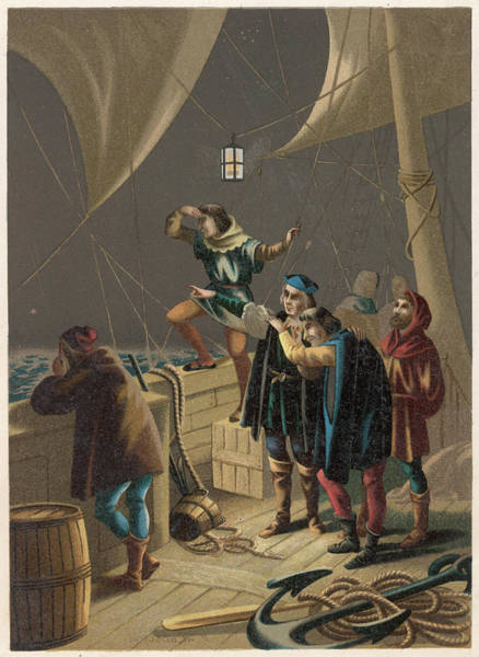 Pinta Drawing -  Columbus Sights Land From The  Prow by Mary Evans Picture Library