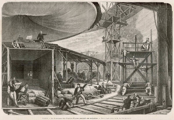 Wall Art - Drawing -  Construction Work On A  Panorama by Mary Evans Picture Library