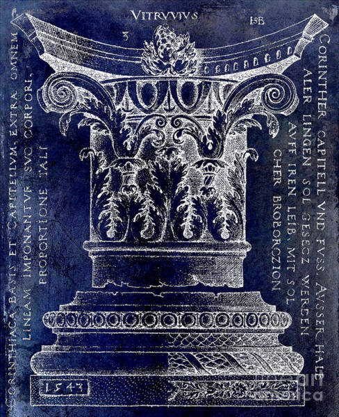 Wall Art - Drawing -  Corinthian Column Blue by Jon Neidert