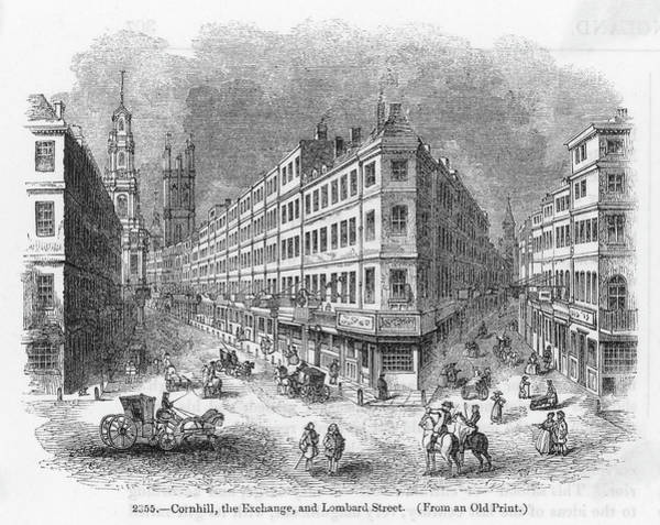 Wall Art - Drawing -  Cornhill, The Exchange And  Lombard by Mary Evans Picture Library