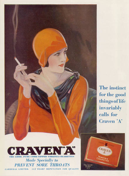 Wall Art - Drawing -  Craven A Cigarettes -  The Instinct by  Illustrated London News Ltd/Mar