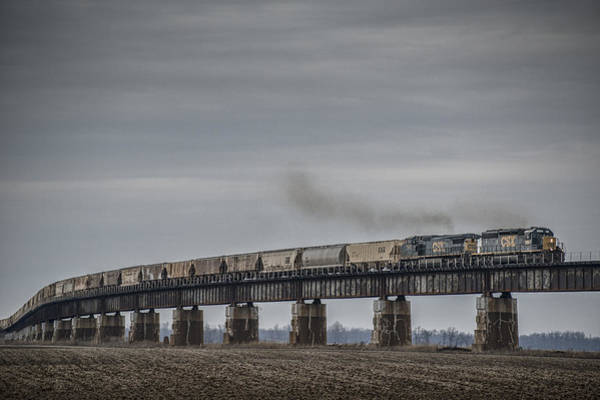 Subdivision Photograph -  Csx G415 Climbing The Viaduct At Rahm Indiana by Jim Pearson