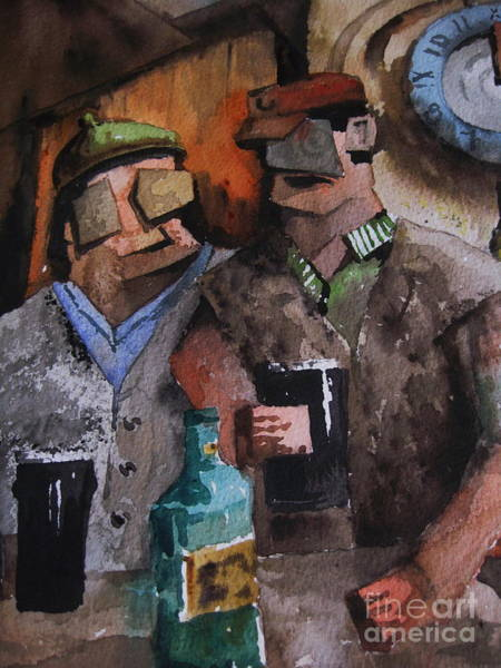 Painting -  De Pub Is A Great Place by Val Byrne
