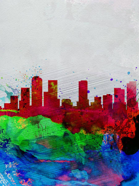 Colorado Wall Art - Painting -  Denver Watercolor Skyline by Naxart Studio