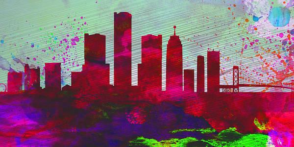Detroit Wall Art - Painting -  Detroit City Skyline by Naxart Studio