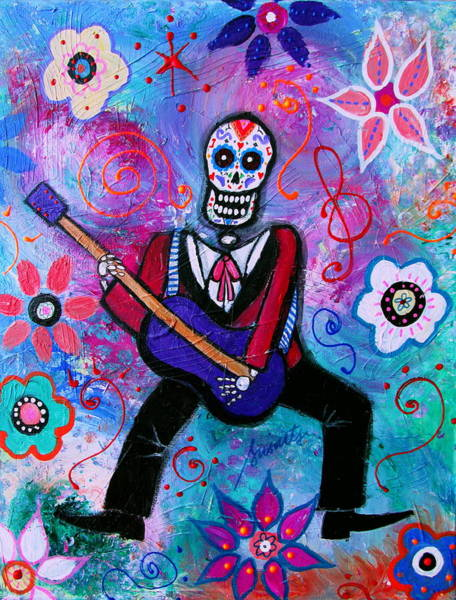 Endless Love Painting -  Dia De Los Muertos Musician by Pristine Cartera Turkus