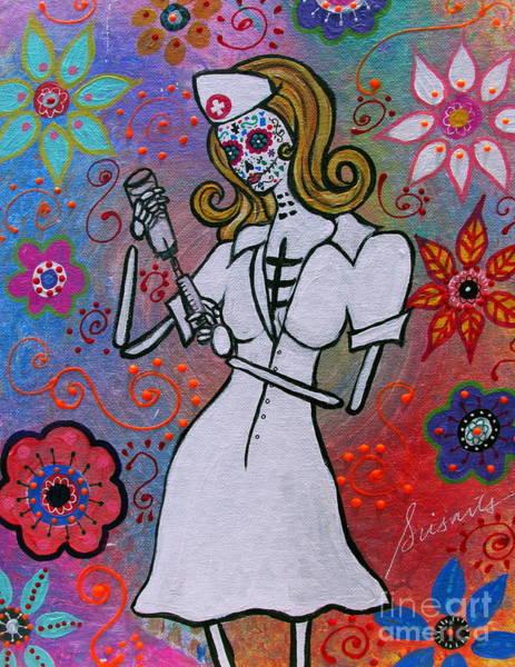Wall Art - Painting -  Dia De Los Muertos Nurse by Pristine Cartera Turkus