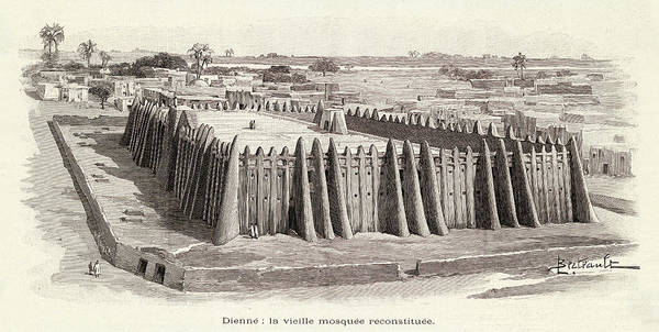 Reconstruction Drawing -  Djenne, Mali, West Africa by Mary Evans Picture Library