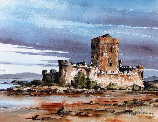 Painting -  Doe Castle In Donegal by Val Byrne