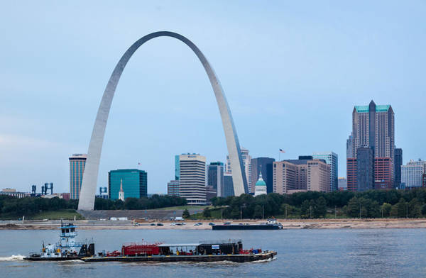 Photograph -  Downtown St Louis With Barge by David Coblitz
