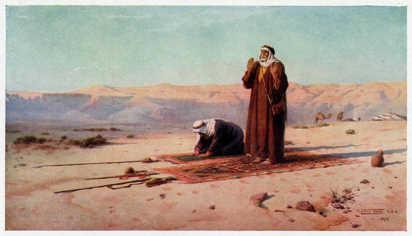 Mat Drawing -  Egyptian Moslems At Prayer by Mary Evans Picture Library