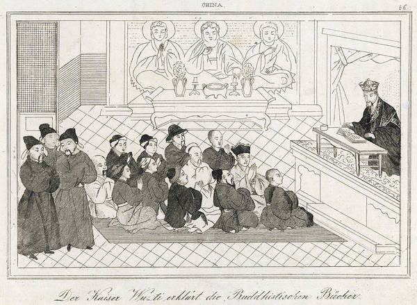 Wall Art - Drawing -  Emperor Wu-ti Comments To An  Assembly by Mary Evans Picture Library