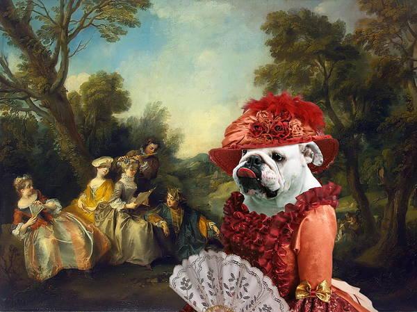 English Bulldog Painting -  English Bulldog Art Canvas Print - Concert In The Park by Sandra Sij