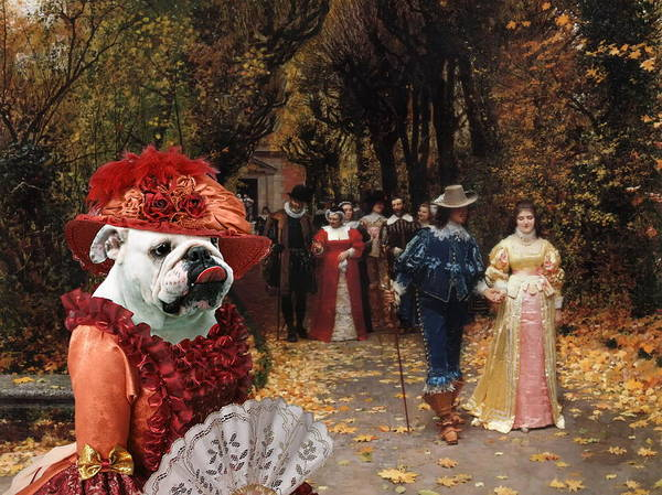 English Bulldog Painting -  English Bulldog Art Canvas Print - Left Mistress by Sandra Sij