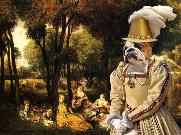 English Bulldog Painting -  English Bulldog Art Canvas Print - The Galant Ladies Talks by Sandra Sij