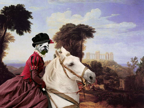 English Bulldog Painting -  English Bulldog Art Canvas Print - The Noble Lady by Sandra Sij