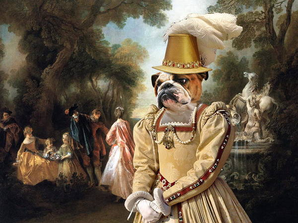 English Bulldog Painting -  English Bulldog Art Canvas Print - The Noble Party In Palace Park by Sandra Sij