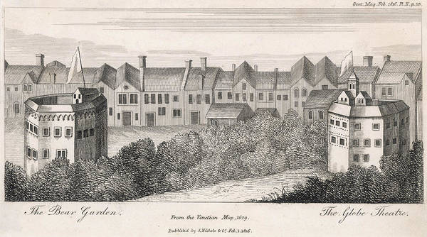 Globe Theatre Drawing -  Engraving Showing The Bear  Garden's by Mary Evans Picture Library